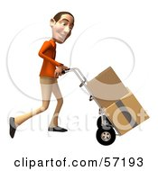 Royalty Free RF Clipart Illustration Of A 3d Casual White Man Character Moving Boxes On A Dolly Version 3 by Julos