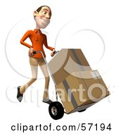Royalty Free RF Clipart Illustration Of A 3d Casual White Man Character Moving Boxes On A Dolly Version 2 by Julos