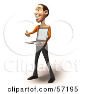 Royalty Free RF Clipart Illustration Of A 3d Casual White Man Character Holding A Laptop Version 2 by Julos