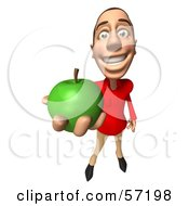 Royalty Free RF Clipart Illustration Of A 3d Casual White Man Character Eating A Green Apple Version 3