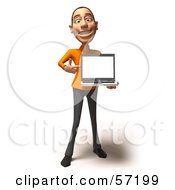 Royalty Free RF Clipart Illustration Of A 3d Casual White Man Character Holding A Laptop Version 3 by Julos
