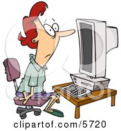 Computer Illiterate Woman Sitting In Front Of A Desktop PC Clipart Illustration