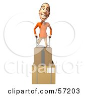 Royalty Free RF Clipart Illustration Of A 3d Casual White Man Character Moving Boxes On A Dolly Version 4 by Julos