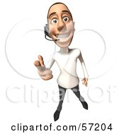 Royalty Free RF Clipart Illustration Of A 3d Casual White Man Character Wearing A Headset Version 1 by Julos