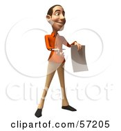Royalty Free RF Clipart Illustration Of A 3d Casual White Man Character Holding A Contract Version 2 by Julos
