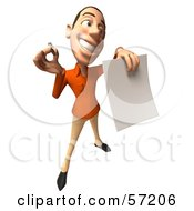 Royalty Free RF Clipart Illustration Of A 3d Casual White Man Character Holding A Contract Version 5