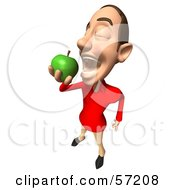 Royalty Free RF Clipart Illustration Of A 3d Casual White Man Character Eating A Green Apple Version 5