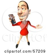 Royalty Free RF Clipart Illustration Of A 3d Casual White Man Character Using A Cell Phone Version 3 by Julos
