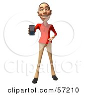 Royalty Free RF Clipart Illustration Of A 3d Casual White Man Character Using A Cell Phone Version 1 by Julos