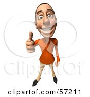 Royalty Free RF Clipart Illustration Of A 3d Casual White Man Character Giving The Thumbs Up by Julos