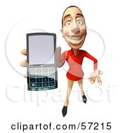 Royalty Free RF Clipart Illustration Of A 3d Casual White Man Character Using A Cell Phone Version 4 by Julos
