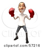 3d Casual White Man Character Boxing - Version 6