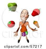 3d Casual White Man Character Juggling Veggies - Version 3