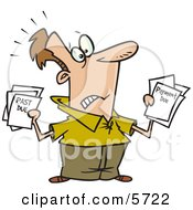 Man With Bills And Past Due Notices Clipart Illustration