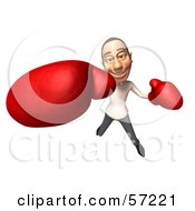 Royalty Free RF Clipart Illustration Of A 3d Casual White Man Character Boxing Version 2 by Julos