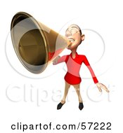 Royalty Free RF Clipart Illustration Of A 3d Casual White Man Character Using A Megaphone Version 2
