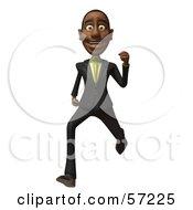 3d Black Businessman Character Running - Version 5
