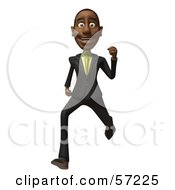 3d Black Businessman Character Running Version 5 by Julos