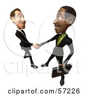 Royalty Free RF Clipart Illustration Of 3d White And Black Businessmen Characters Shaking Hands Version 3