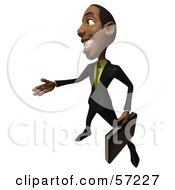 3d Black Businessman Character With A Briefcase Holding His Hand Out - Version 4