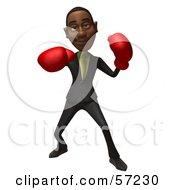 3d Black Businessman Character Boxing - Version 3