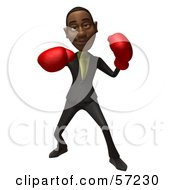 3d Black Businessman Character Boxing Version 3 by Julos