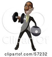 3d Black Businessman Character Lifting Weights - Version 1