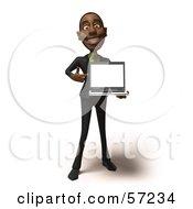 3d Black Businessman Character Holding A Laptop - Version 3