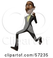 3d Black Businessman Character Running - Version 2