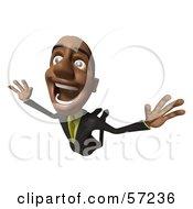 3d Black Businessman Character Flying