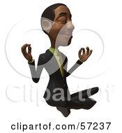 3d Black Businessman Character Meditating - Version 1