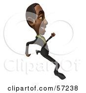 3d Black Businessman Character Running - Version 4
