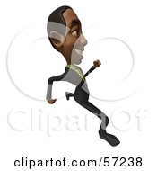 Royalty Free RF Clipart Illustration Of A 3d Black Businessman Character Running Version 4