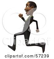 3d Black Businessman Character Running - Version 1