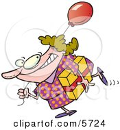 Birthday Girl In A Polka Dot Dress Carrying A Present And Balloon Clipart Illustration