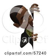 Royalty Free RF Clipart Illustration Of A 3d Black Businessman Character Looking Around A Blank Sign Version 2