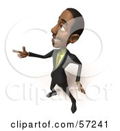 Royalty Free RF Clipart Illustration Of A 3d Black Businessman Character Pointing His Fingers Like A Gun Version 2