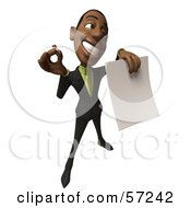 3d Black Businessman Character Holding Out A Contract And Pen - Version 5