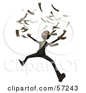 3d Black Businessman Character Throwing Cash Into The Air - Version 1