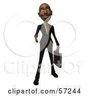 3d Black Businessman Character With A Briefcase Holding His Hand Out - Version 1