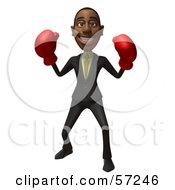3d Black Businessman Character Boxing - Version 2