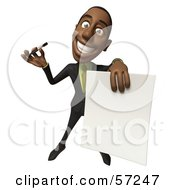 Royalty Free RF Clipart Illustration Of A 3d Black Businessman Character Holding Out A Contract And Pen Version 3 by Julos
