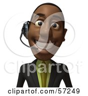 3d Black Businessman Character Smiling And Wearing A Headset - Version 2
