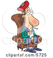 Sick Man Sitting In A Chair Clipart Illustration