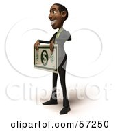 3d Black Businessman Character Holding An Over Sized Dollar - Version 2