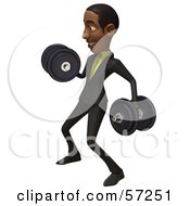 3d Black Businessman Character Lifting Weights - Version 2