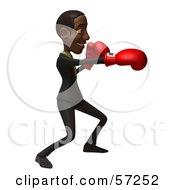 3d Black Businessman Character Boxing - Version 1