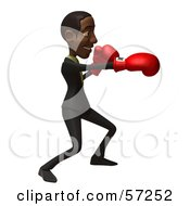 3d Black Businessman Character Boxing Version 1 by Julos