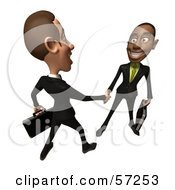 Royalty Free RF Clipart Illustration Of 3d White And Black Businessmen Characters Shaking Hands Version 4