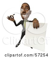 3d Black Businessman Character Holding Out A Contract And Pen - Version 4